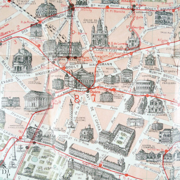 Ancien plan de Paris monumental Taride 1906 Souviens Toi De Paris vintage map vue 5