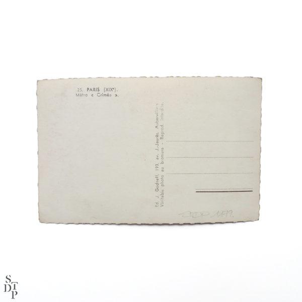 Carte Postale Semi Moderne Rue de Crimée circa 1960 Souviens Toi De Paris vintage vue 3